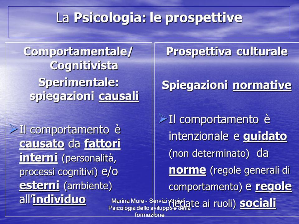 Marina Mura - Servizi sociali - Psicologia dello sviluppo e della formazione La Psicologia: le prospettive Comportamentale/ Cognitivista Sperimentale: