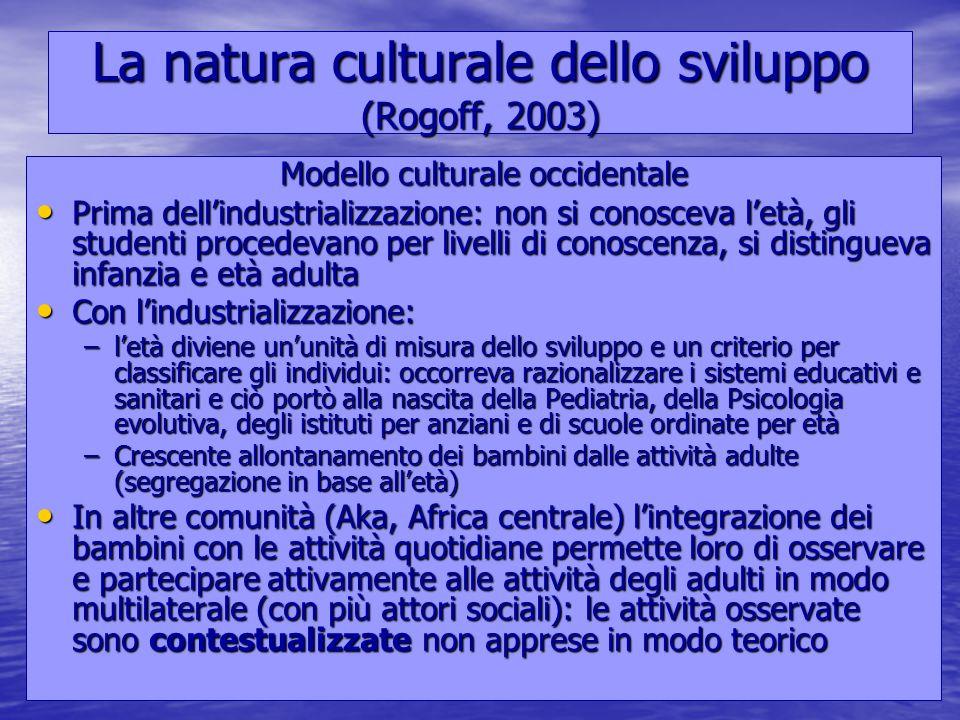 Marina Mura - Servizi sociali - Psicologia dello sviluppo e della formazione La natura culturale dello sviluppo (Rogoff, 2003) Modello culturale occid