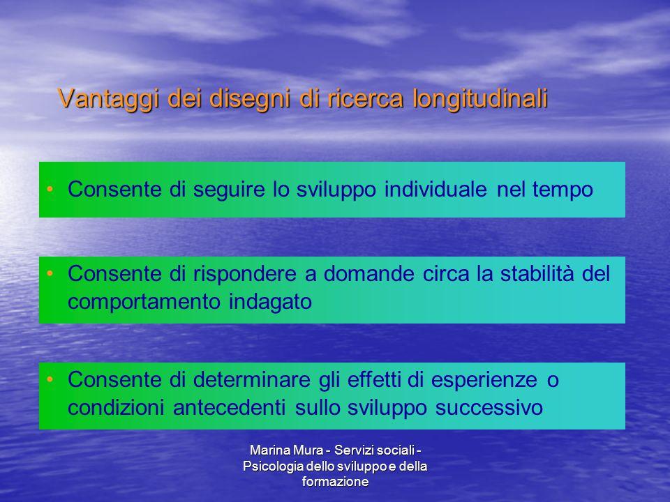 Marina Mura - Servizi sociali - Psicologia dello sviluppo e della formazione Consente di seguire lo sviluppo individuale nel tempo Consente di rispond