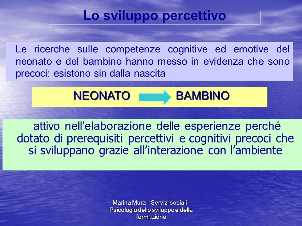 Marina Mura - Servizi sociali - Psicologia dello sviluppo e della formazione 47 Le ricerche sulle competenze cognitive ed emotive del neonato e del ba