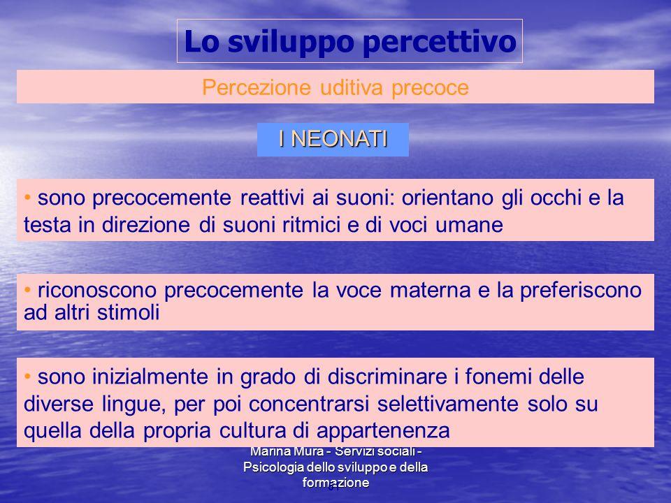 Marina Mura - Servizi sociali - Psicologia dello sviluppo e della formazione 51 Percezione uditiva precoce I NEONATI sono precocemente reattivi ai suo