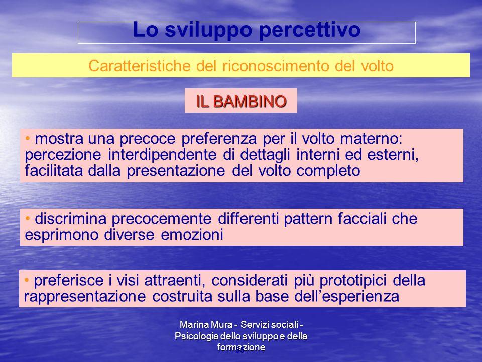 Marina Mura - Servizi sociali - Psicologia dello sviluppo e della formazione 55 Caratteristiche del riconoscimento del volto IL BAMBINO preferisce i v