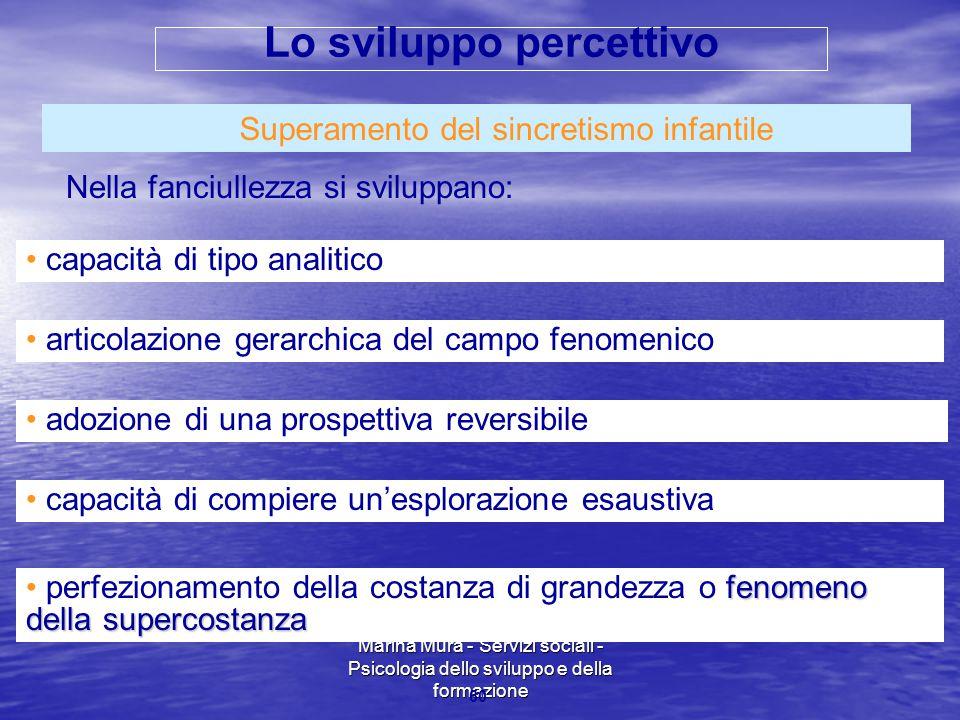 Marina Mura - Servizi sociali - Psicologia dello sviluppo e della formazione 60 Superamento del sincretismo infantile Nella fanciullezza si sviluppano