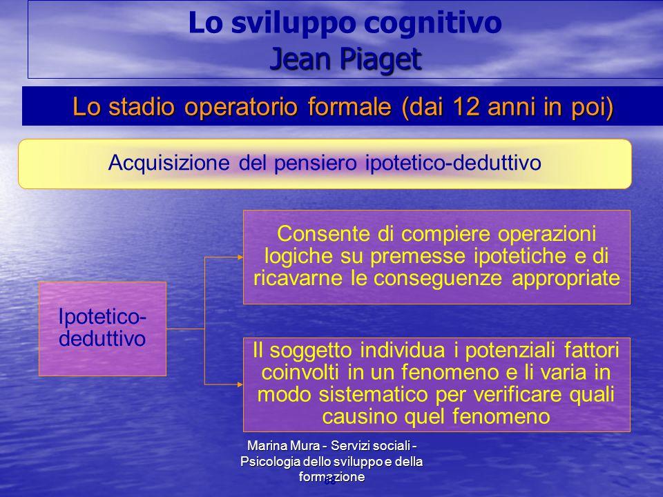Marina Mura - Servizi sociali - Psicologia dello sviluppo e della formazione 68 Acquisizione del pensiero ipotetico-deduttivo Ipotetico- deduttivo Con