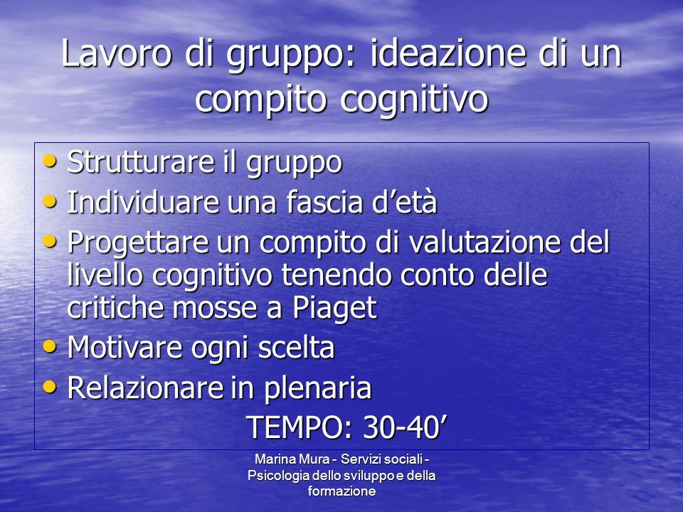 Marina Mura - Servizi sociali - Psicologia dello sviluppo e della formazione Lavoro di gruppo: ideazione di un compito cognitivo Strutturare il gruppo
