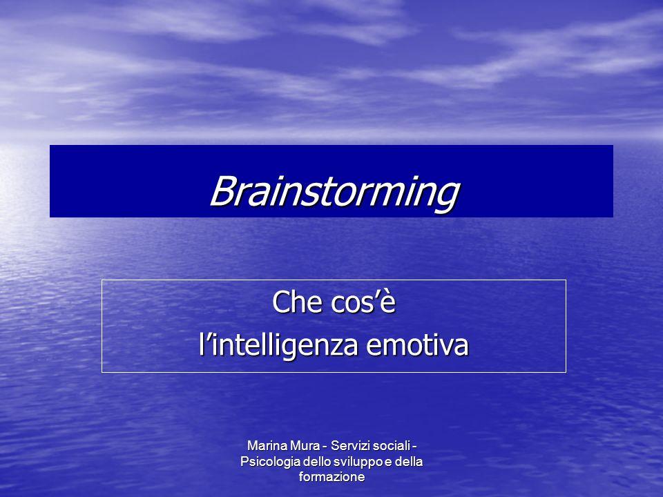 Marina Mura - Servizi sociali - Psicologia dello sviluppo e della formazione Brainstorming Che cos'è l'intelligenza emotiva