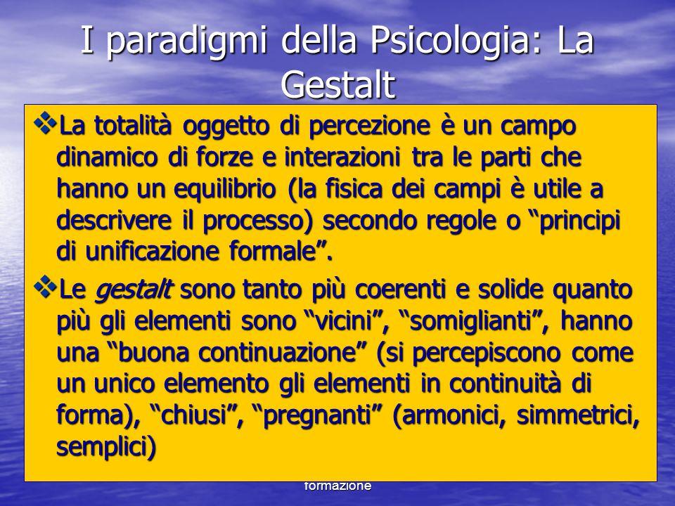 Marina Mura - Servizi sociali - Psicologia dello sviluppo e della formazione I paradigmi della Psicologia: La Gestalt  La totalità oggetto di percezi