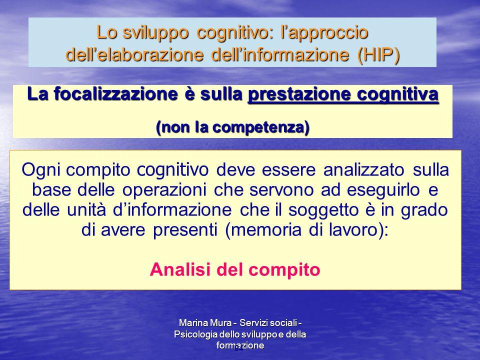Marina Mura - Servizi sociali - Psicologia dello sviluppo e della formazione 94 Lo sviluppo cognitivo: l'approccio dell'elaborazione dell'informazione
