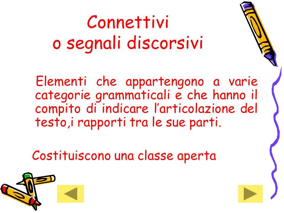 Connettivi o segnali discorsivi Elementi che appartengono a varie categorie grammaticali e che hanno il compito di indicare l'articolazione del testo,i rapporti tra le sue parti.