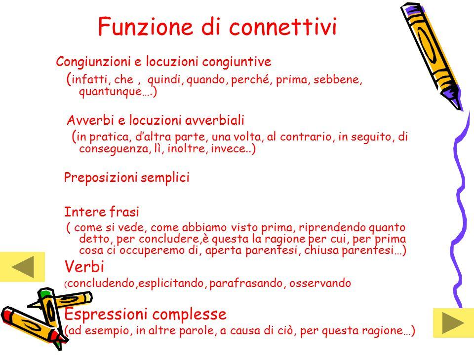 Funzione di connettivi Congiunzioni e locuzioni congiuntive ( infatti, che, quindi, quando, perché, prima, sebbene, quantunque….) Avverbi e locuzioni