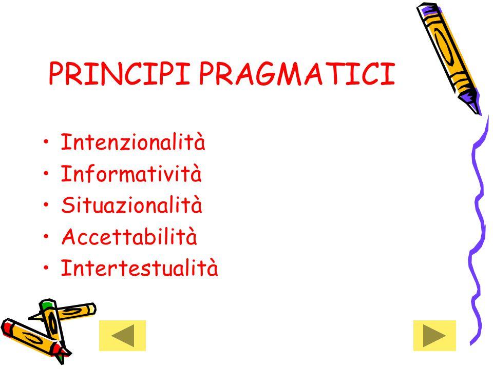PRINCIPI PRAGMATICI Intenzionalità Informatività Situazionalità Accettabilità Intertestualità