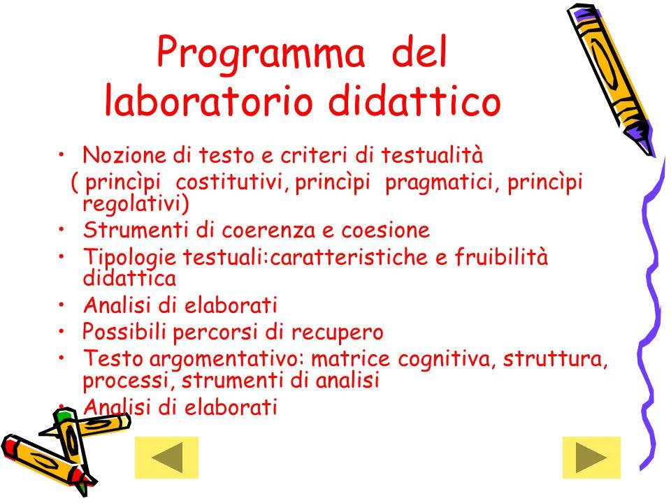 Programma del laboratorio didattico Nozione di testo e criteri di testualità ( princìpi costitutivi, princìpi pragmatici, princìpi regolativi) Strumen