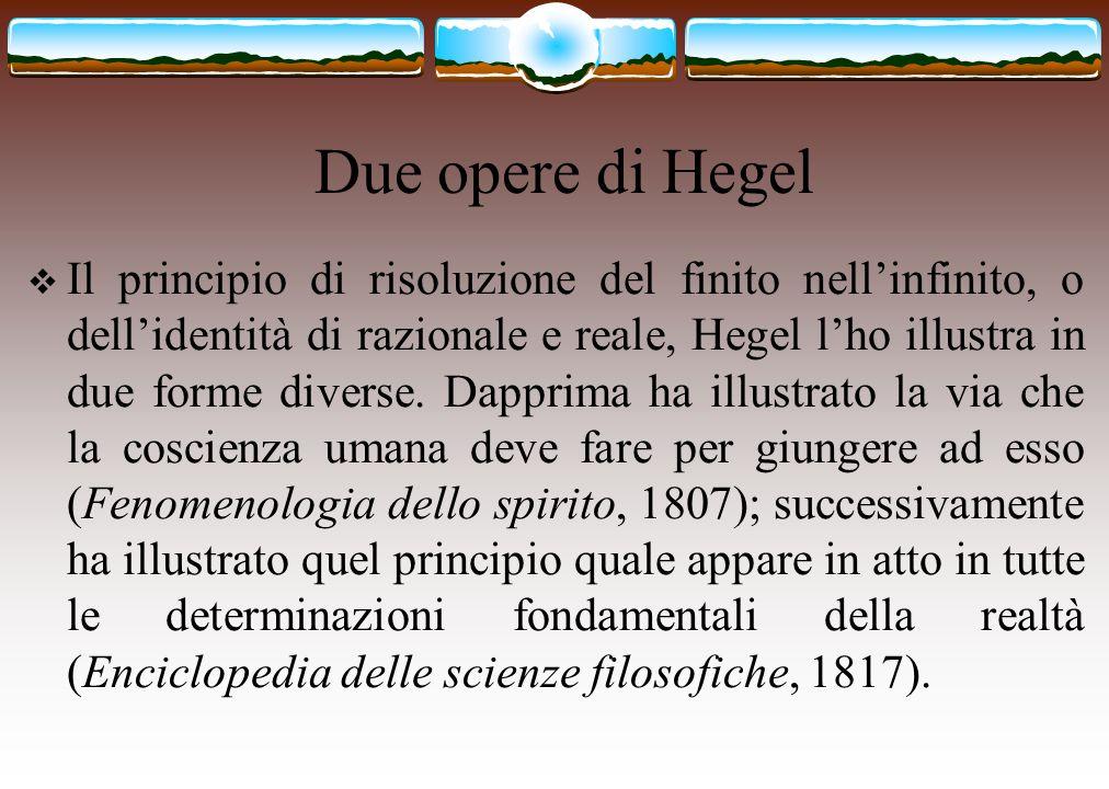 Due opere di Hegel  Il principio di risoluzione del finito nell'infinito, o dell'identità di razionale e reale, Hegel l'ho illustra in due forme dive