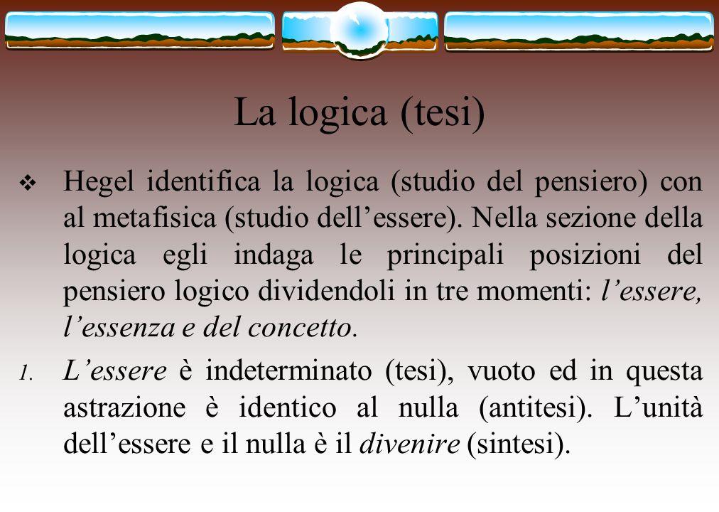 La logica (tesi)  Hegel identifica la logica (studio del pensiero) con al metafisica (studio dell'essere). Nella sezione della logica egli indaga le