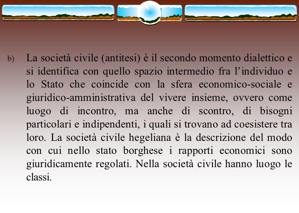 b) La società civile (antitesi) è il secondo momento dialettico e si identifica con quello spazio intermedio fra l'individuo e lo Stato che coincide c