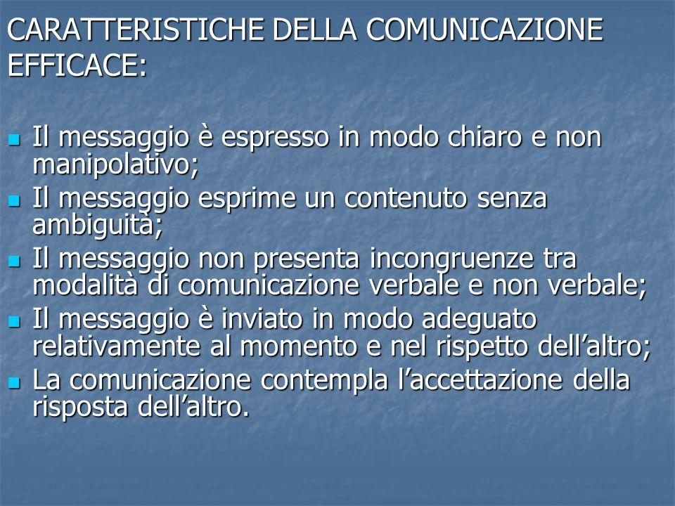 CARATTERISTICHE DELLA COMUNICAZIONE EFFICACE: Il messaggio è espresso in modo chiaro e non manipolativo; Il messaggio è espresso in modo chiaro e non