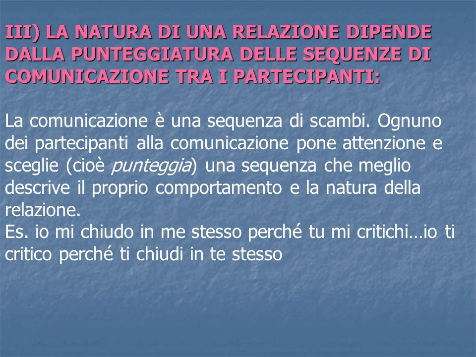 III) LA NATURA DI UNA RELAZIONE DIPENDE DALLA PUNTEGGIATURA DELLE SEQUENZE DI COMUNICAZIONE TRA I PARTECIPANTI: La comunicazione è una sequenza di sca