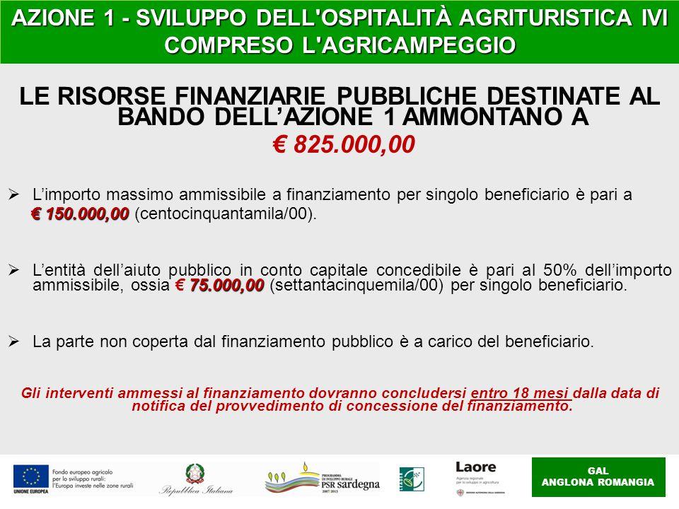 GAL ANGLONA ROMANGIA AZIONE 1 - SVILUPPO DELL OSPITALITÀ AGRITURISTICA IVI COMPRESO L AGRICAMPEGGIO LE RISORSE FINANZIARIE PUBBLICHE DESTINATE AL BANDO DELL'AZIONE 1 AMMONTANO A € 825.000,00  L'importo massimo ammissibile a finanziamento per singolo beneficiario è pari a € 150.000,00 € 150.000,00 (centocinquantamila/00).