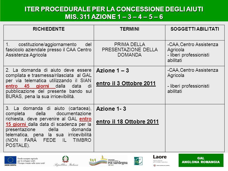 GAL ANGLONA ROMANGIA ITER PROCEDURALE PER LA CONCESSIONE DEGLI AIUTI MIS. 311 AZIONE 1 – 3 – 4 – 5 – 6 RICHIEDENTETERMINISOGGETTI ABILITATI 1. costitu