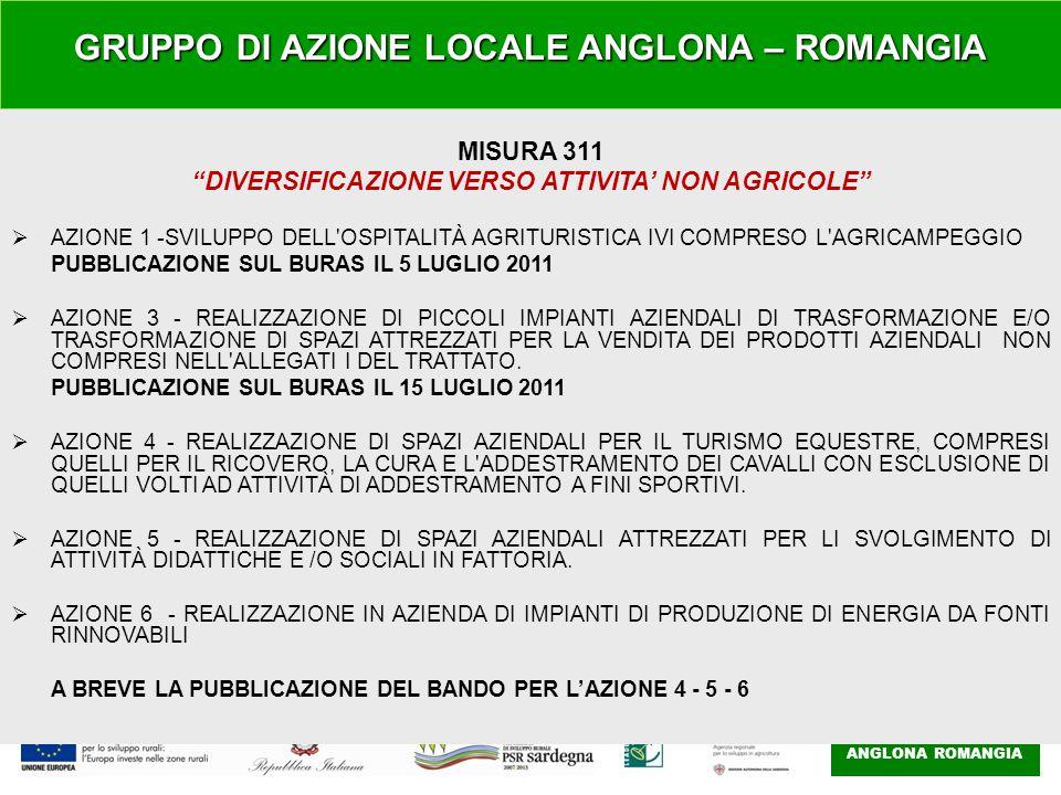GAL ANGLONA ROMANGIA MISURA 311 DIVERSIFICAZIONE VERSO ATTIVITA' NON AGRICOLE  AZIONE 1 -SVILUPPO DELL OSPITALITÀ AGRITURISTICA IVI COMPRESO L AGRICAMPEGGIO PUBBLICAZIONE SUL BURAS IL 5 LUGLIO 2011  AZIONE 3 - REALIZZAZIONE DI PICCOLI IMPIANTI AZIENDALI DI TRASFORMAZIONE E/O TRASFORMAZIONE DI SPAZI ATTREZZATI PER LA VENDITA DEI PRODOTTI AZIENDALI NON COMPRESI NELL ALLEGATI I DEL TRATTATO.