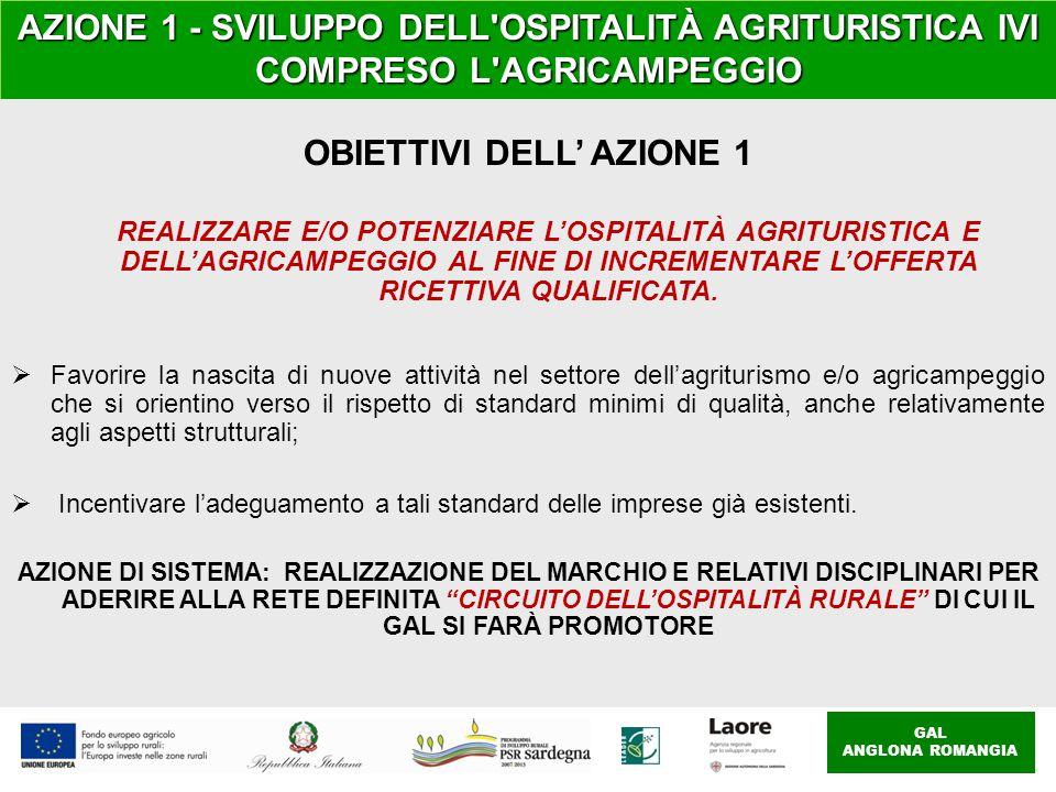 GAL ANGLONA ROMANGIA AZIONE 1 - SVILUPPO DELL OSPITALITÀ AGRITURISTICA IVI COMPRESO L AGRICAMPEGGIO OBIETTIVI DELL' AZIONE 1 REALIZZARE E/O POTENZIARE L'OSPITALITÀ AGRITURISTICA E DELL'AGRICAMPEGGIO AL FINE DI INCREMENTARE L'OFFERTA RICETTIVA QUALIFICATA.