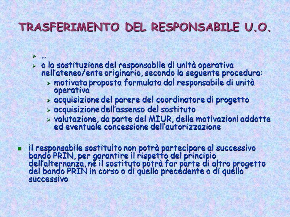 TRASFERIMENTO DEL RESPONSABILE U.O.