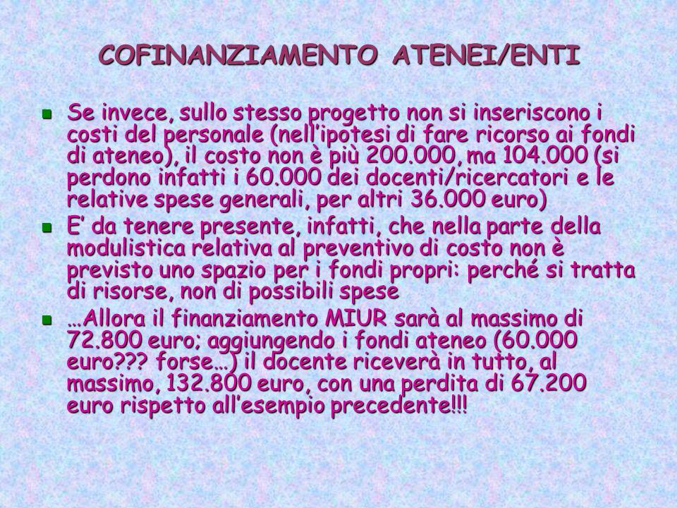 COFINANZIAMENTO ATENEI/ENTI Se invece, sullo stesso progetto non si inseriscono i costi del personale (nell'ipotesi di fare ricorso ai fondi di ateneo), il costo non è più 200.000, ma 104.000 (si perdono infatti i 60.000 dei docenti/ricercatori e le relative spese generali, per altri 36.000 euro) Se invece, sullo stesso progetto non si inseriscono i costi del personale (nell'ipotesi di fare ricorso ai fondi di ateneo), il costo non è più 200.000, ma 104.000 (si perdono infatti i 60.000 dei docenti/ricercatori e le relative spese generali, per altri 36.000 euro) E' da tenere presente, infatti, che nella parte della modulistica relativa al preventivo di costo non è previsto uno spazio per i fondi propri: perché si tratta di risorse, non di possibili spese E' da tenere presente, infatti, che nella parte della modulistica relativa al preventivo di costo non è previsto uno spazio per i fondi propri: perché si tratta di risorse, non di possibili spese …Allora il finanziamento MIUR sarà al massimo di 72.800 euro; aggiungendo i fondi ateneo (60.000 euro .