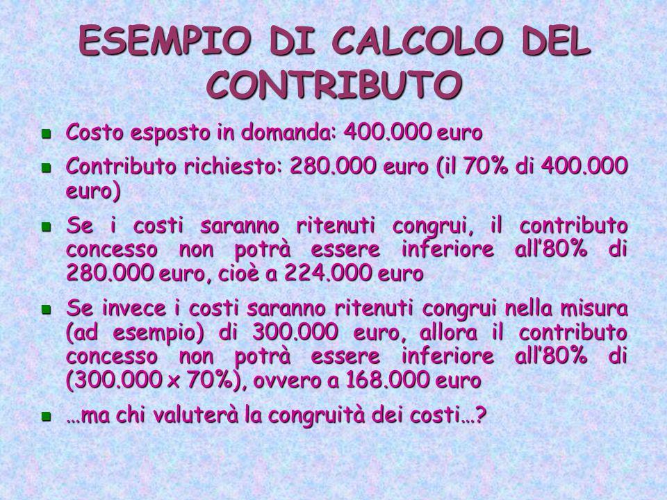 ESEMPIO DI CALCOLO DEL CONTRIBUTO Costo esposto in domanda: 400.000 euro Costo esposto in domanda: 400.000 euro Contributo richiesto: 280.000 euro (il 70% di 400.000 euro) Contributo richiesto: 280.000 euro (il 70% di 400.000 euro) Se i costi saranno ritenuti congrui, il contributo concesso non potrà essere inferiore all'80% di 280.000 euro, cioè a 224.000 euro Se i costi saranno ritenuti congrui, il contributo concesso non potrà essere inferiore all'80% di 280.000 euro, cioè a 224.000 euro Se invece i costi saranno ritenuti congrui nella misura (ad esempio) di 300.000 euro, allora il contributo concesso non potrà essere inferiore all'80% di (300.000 x 70%), ovvero a 168.000 euro Se invece i costi saranno ritenuti congrui nella misura (ad esempio) di 300.000 euro, allora il contributo concesso non potrà essere inferiore all'80% di (300.000 x 70%), ovvero a 168.000 euro …ma chi valuterà la congruità dei costi….
