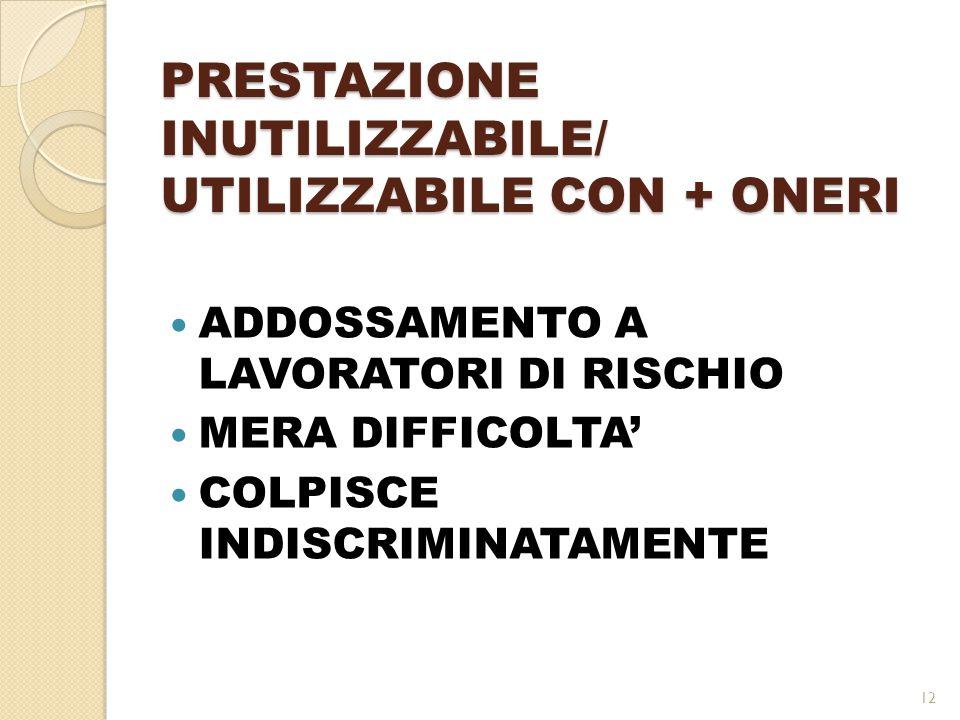 PRESTAZIONE INUTILIZZABILE/ UTILIZZABILE CON + ONERI ADDOSSAMENTO A LAVORATORI DI RISCHIO MERA DIFFICOLTA' COLPISCE INDISCRIMINATAMENTE 12