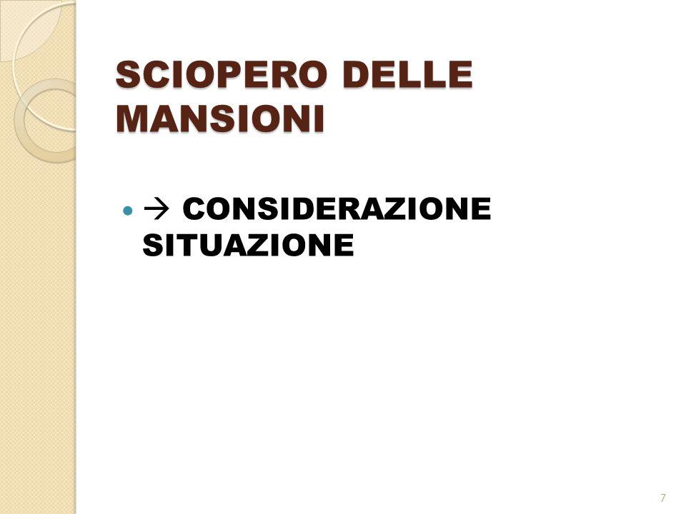 SCIOPERO DELLE MANSIONI  CONSIDERAZIONE SITUAZIONE 7