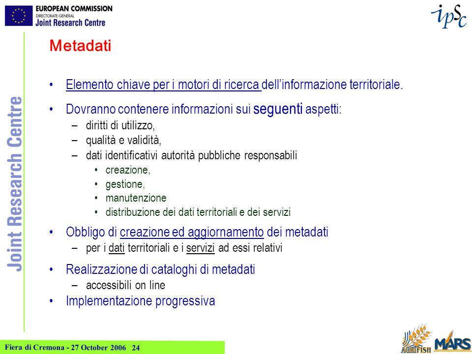 Fiera di Cremona - 27 October 2006 24 Metadati Elemento chiave per i motori di ricerca dell'informazione territoriale.