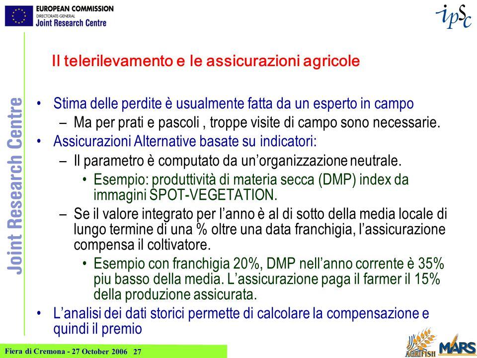 Fiera di Cremona - 27 October 2006 27 Il telerilevamento e le assicurazioni agricole Stima delle perdite è usualmente fatta da un esperto in campo –Ma per prati e pascoli, troppe visite di campo sono necessarie.