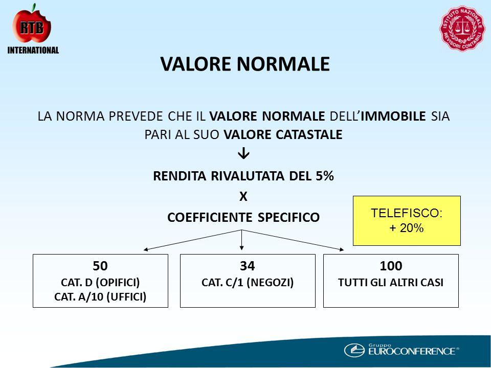 VALORE NORMALE LA NORMA PREVEDE CHE IL VALORE NORMALE DELL'IMMOBILE SIA PARI AL SUO VALORE CATASTALE  RENDITA RIVALUTATA DEL 5% X COEFFICIENTE SPECIFICO 50 CAT.