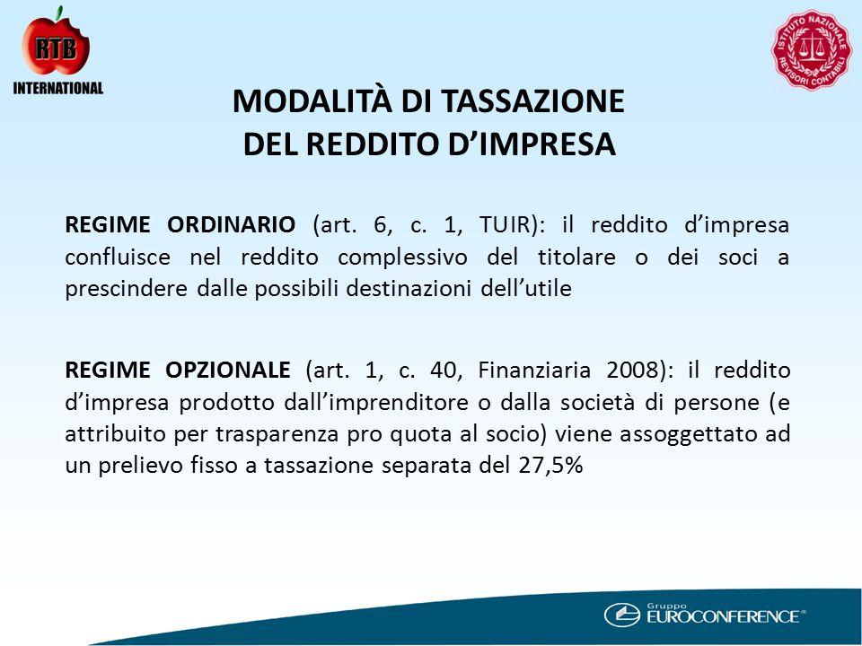 MODALITÀ DI TASSAZIONE DEL REDDITO D'IMPRESA REGIME ORDINARIO (art.