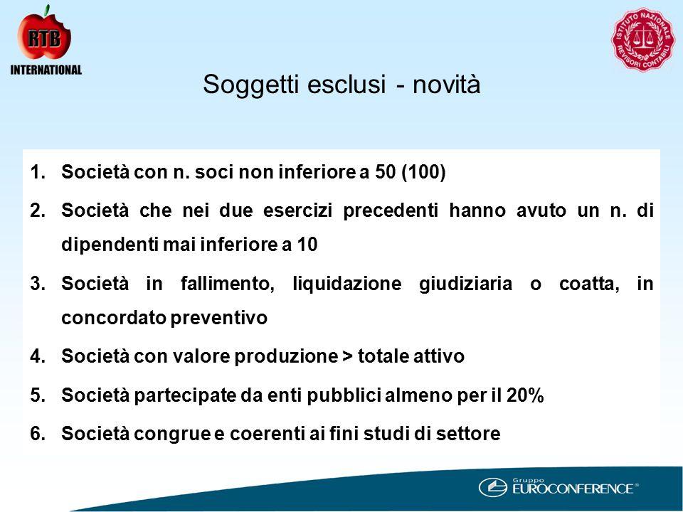 Soggetti esclusi - novità 1.Società con n.