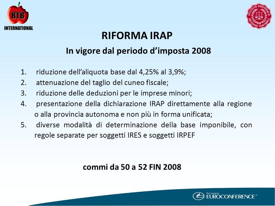 RIFORMA IRAP In vigore dal periodo d'imposta 2008 1.