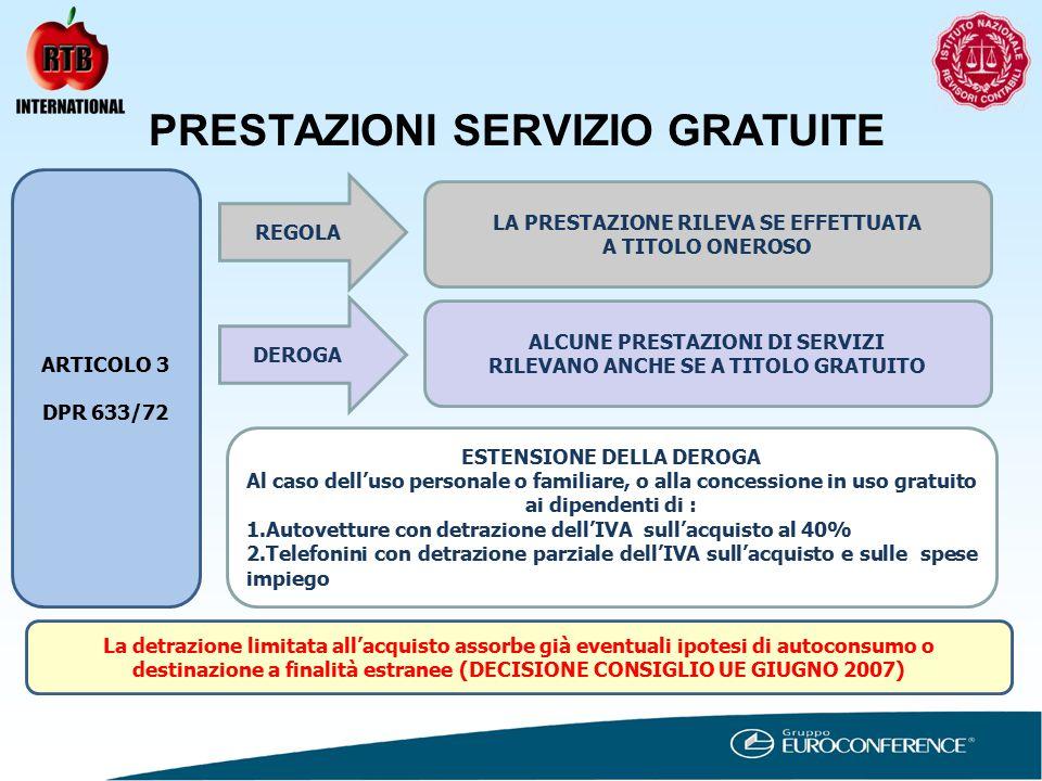 PRESTAZIONI SERVIZIO GRATUITE ARTICOLO 3 DPR 633/72 REGOLA LA PRESTAZIONE RILEVA SE EFFETTUATA A TITOLO ONEROSO DEROGA ALCUNE PRESTAZIONI DI SERVIZI RILEVANO ANCHE SE A TITOLO GRATUITO ESTENSIONE DELLA DEROGA Al caso dell'uso personale o familiare, o alla concessione in uso gratuito ai dipendenti di : 1.Autovetture con detrazione dell'IVA sull'acquisto al 40% 2.Telefonini con detrazione parziale dell'IVA sull'acquisto e sulle spese impiego La detrazione limitata all'acquisto assorbe già eventuali ipotesi di autoconsumo o destinazione a finalità estranee (DECISIONE CONSIGLIO UE GIUGNO 2007)