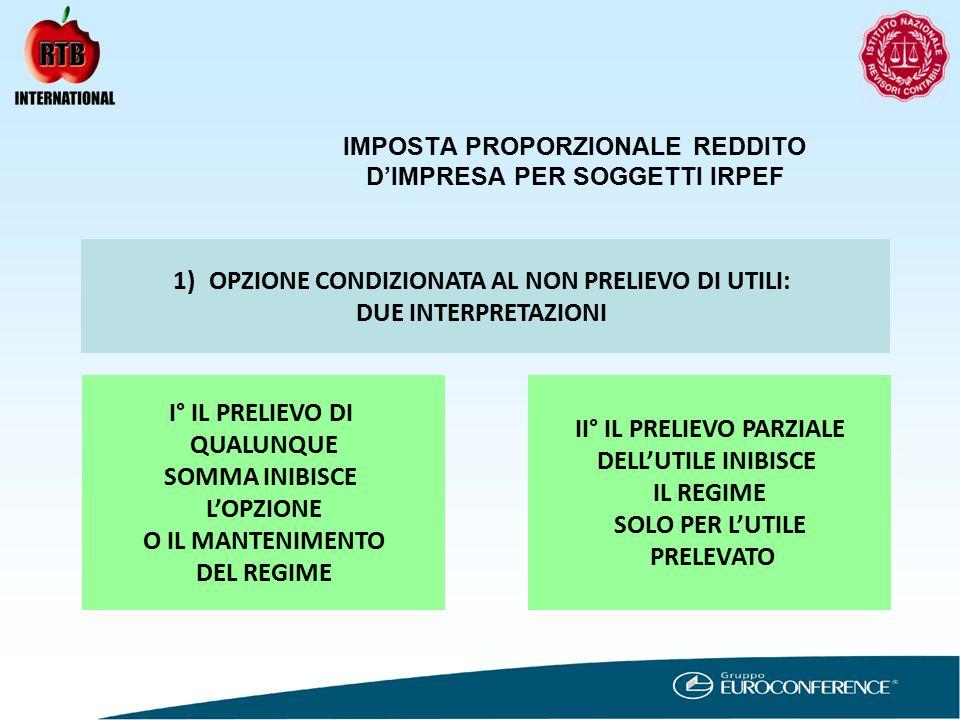 IMPOSTA PROPORZIONALE REDDITO D'IMPRESA PER SOGGETTI IRPEF 1)OPZIONE CONDIZIONATA AL NON PRELIEVO DI UTILI: CONSEGUENZE DEL PRELIEVO I° SOMMA PRELEVATA CONCORRE ALLA FORMAZIONE DELL'UTILE COMPLESSIVO II° IMPOSTA PAGATA DEL 27,5% VIENE DETRATTA DALL'IMPOSTA DOVUTA CORRISPONDENTE AI REDDITI PRELEVATI SEMBREREBBE NECESSARIO DETERMINARE IMPOSTA CORRISPONDENTE ES.