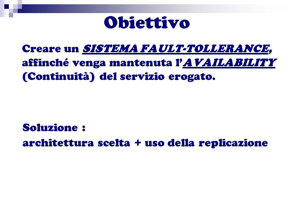 Obiettivo Creare un SISTEMA FAULT-TOLLERANCE, affinché venga mantenuta l'AVAILABILITY (Continuità) del servizio erogato.