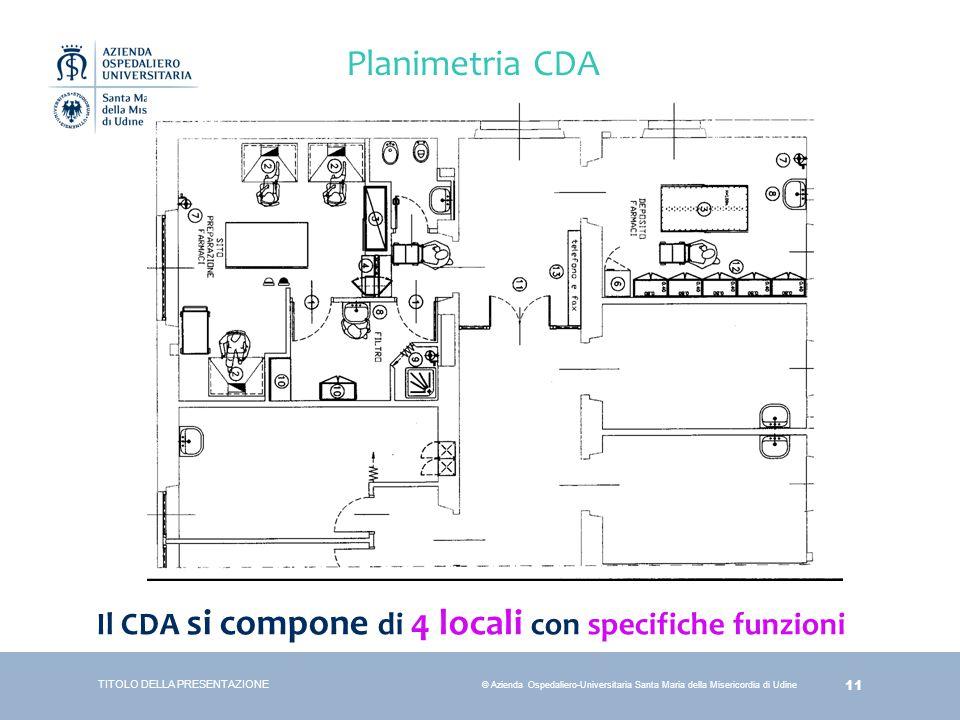 11 © Azienda Ospedaliero-Universitaria Santa Maria della Misericordia di Udine TITOLO DELLA PRESENTAZIONE Planimetria CDA Il CDA si compone di 4 local