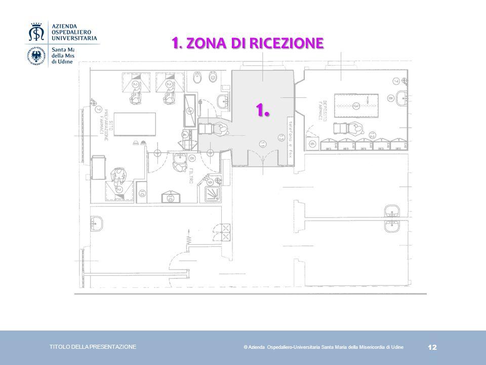 12 © Azienda Ospedaliero-Universitaria Santa Maria della Misericordia di Udine TITOLO DELLA PRESENTAZIONE 1. ZONA DI RICEZIONE 1.