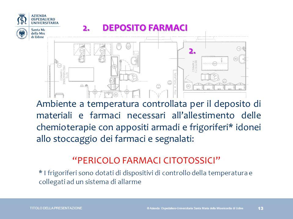 13 © Azienda Ospedaliero-Universitaria Santa Maria della Misericordia di Udine TITOLO DELLA PRESENTAZIONE 2. DEPOSITO FARMACI Ambiente a temperatura c