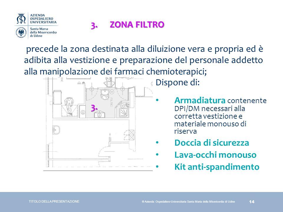 14 © Azienda Ospedaliero-Universitaria Santa Maria della Misericordia di Udine TITOLO DELLA PRESENTAZIONE 3.ZONA FILTRO precede la zona destinata alla