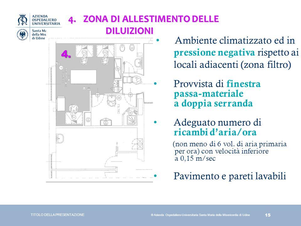 15 © Azienda Ospedaliero-Universitaria Santa Maria della Misericordia di Udine TITOLO DELLA PRESENTAZIONE 4. 4.ZONA DI ALLESTIMENTO DELLE DILUIZIONI D