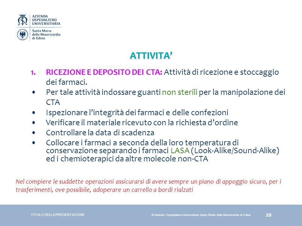25 © Azienda Ospedaliero-Universitaria Santa Maria della Misericordia di Udine ATTIVITA' TITOLO DELLA PRESENTAZIONE 1.RICEZIONE E DEPOSITO DEI CTA: 1.