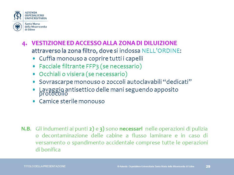 29 © Azienda Ospedaliero-Universitaria Santa Maria della Misericordia di Udine 4.VESTIZIONE ED ACCESSO ALLA ZONA DI DILUIZIONE attraverso la zona filt