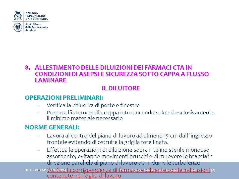 34 © Azienda Ospedaliero-Universitaria Santa Maria della Misericordia di Udine 8.ALLESTIMENTO DELLE DILUIZIONI DEI FARMACI CTA IN CONDIZIONI DI ASEPSI