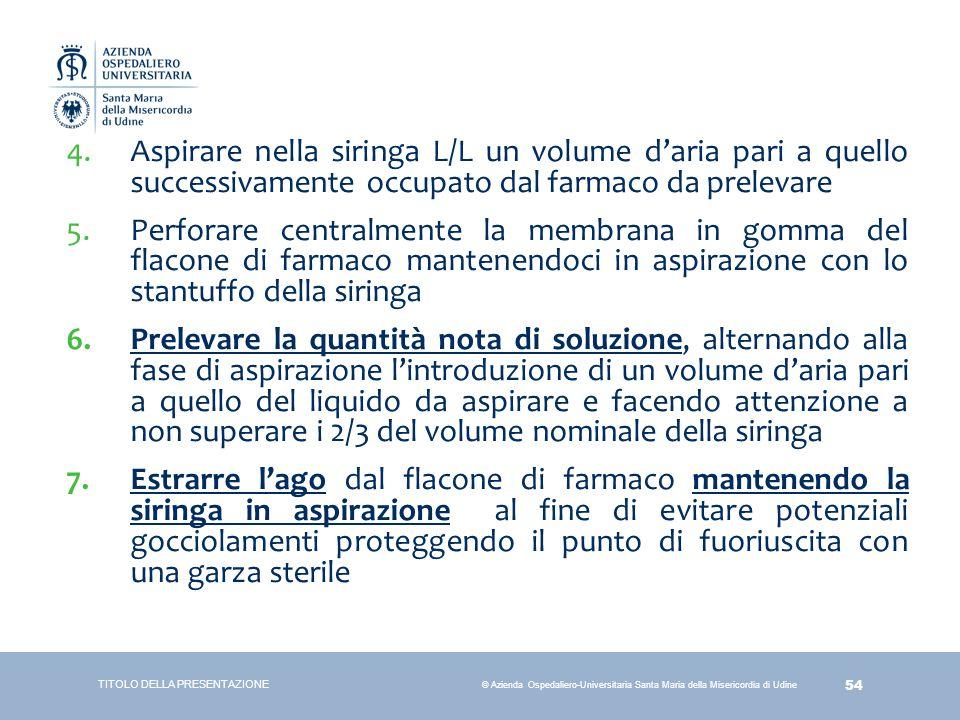 54 © Azienda Ospedaliero-Universitaria Santa Maria della Misericordia di Udine 4.Aspirare nella siringa L/L un volume d'aria pari a quello successivam