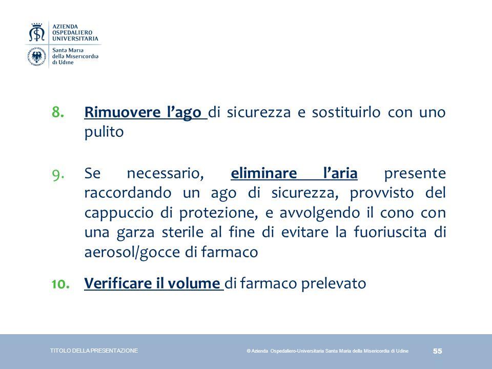 55 © Azienda Ospedaliero-Universitaria Santa Maria della Misericordia di Udine 8.Rimuovere l'ago di sicurezza e sostituirlo con uno pulito 9.Se necess