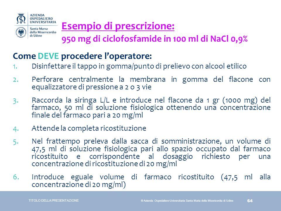 64 © Azienda Ospedaliero-Universitaria Santa Maria della Misericordia di Udine Come DEVE procedere l'operatore: 1.Disinfettare il tappo in gomma/punto